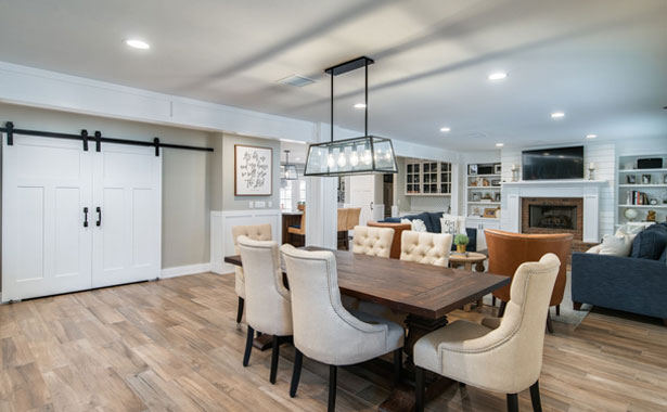 newly remodeled home dining area in open floor concept room